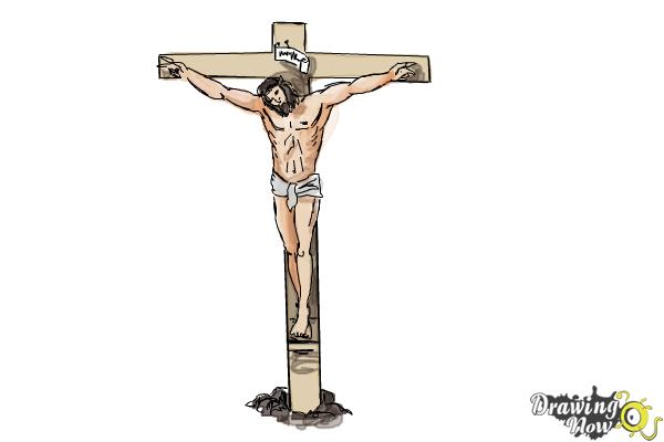 How to Draw Jesus On The Cross - DrawingNow