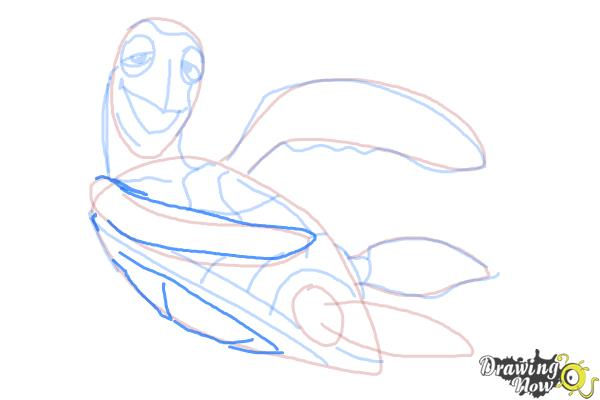 How to Draw Crush from Finding Nemo - Step 10