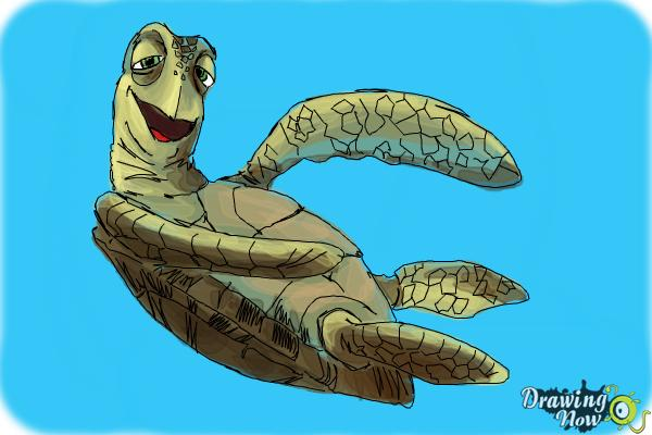 How to Draw Crush from Finding Nemo - Step 12