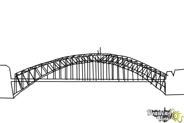 How to Draw a Bridge Step by Step - Step 7