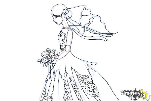 How to Draw a Bride - Step 10