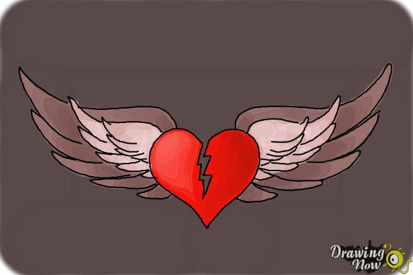 How to Draw a Broken Heart With Wings - Step 10