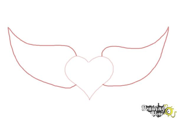 How to Draw a Broken Heart With Wings - Step 2