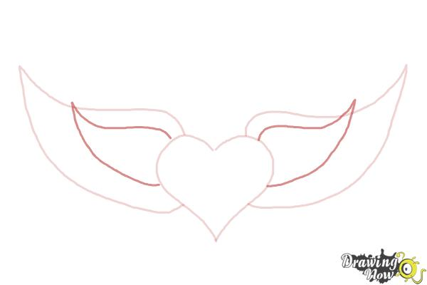 How to Draw a Broken Heart With Wings - Step 3