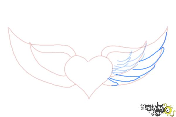 How to Draw a Broken Heart With Wings - Step 5