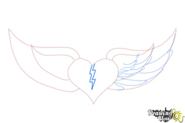 How to Draw a Broken Heart With Wings - Step 6
