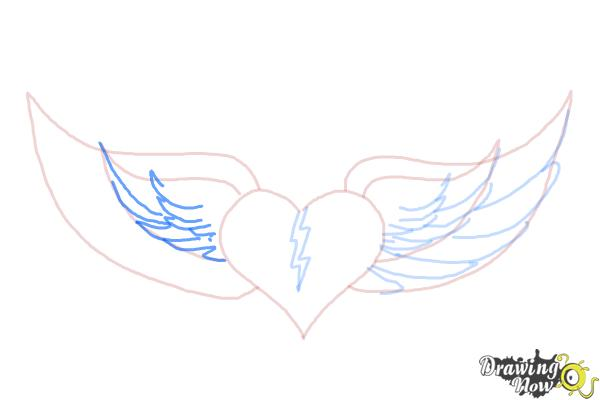 How to Draw a Broken Heart With Wings - Step 7