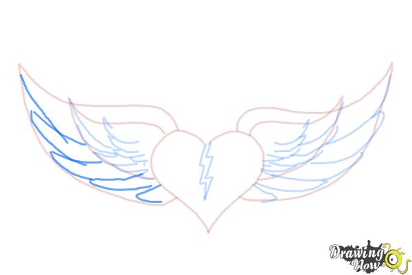 How to Draw a Broken Heart With Wings - Step 8