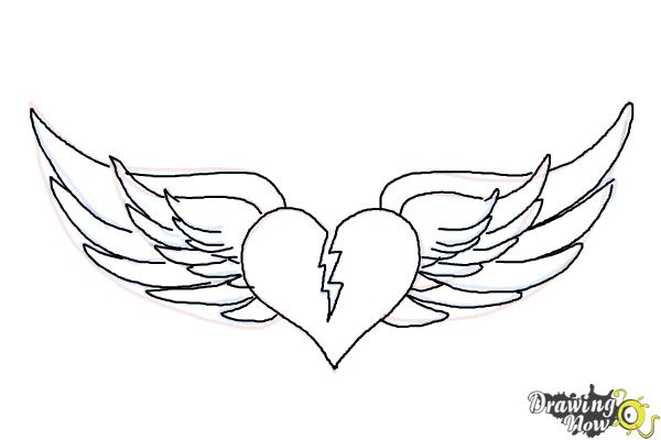 How to Draw a Broken Heart With Wings - Step 9