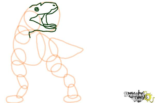 How to Draw Gorgon from Walking With Dinosaurs - Step 5