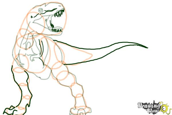 How to Draw Gorgon from Walking With Dinosaurs - Step 8