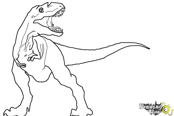 How to Draw Gorgon from Walking With Dinosaurs - Step 9
