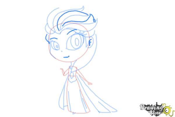 How to Draw a Chibi Elsa from Frozen - Step 10