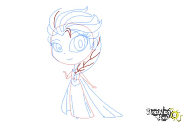How to Draw a Chibi Elsa from Frozen - Step 11