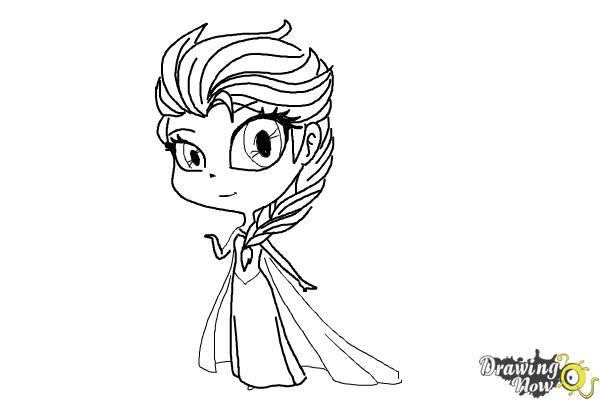 elsa head coloring pages | How to Draw a Chibi Elsa from Frozen - DrawingNow