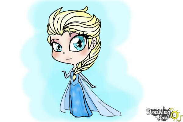 How to Draw a Chibi Elsa from Frozen - Step 13