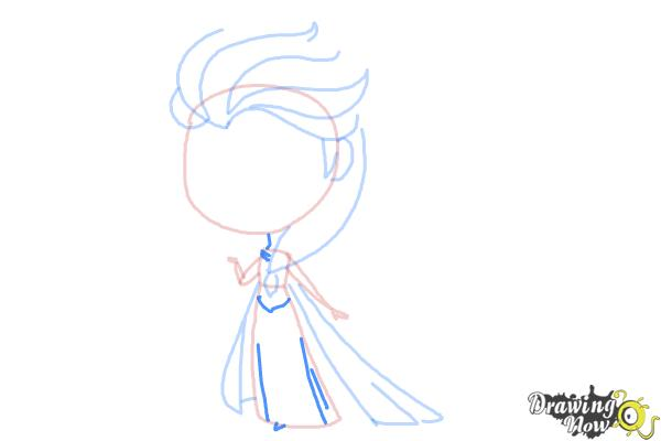 How to Draw a Chibi Elsa from Frozen - Step 7