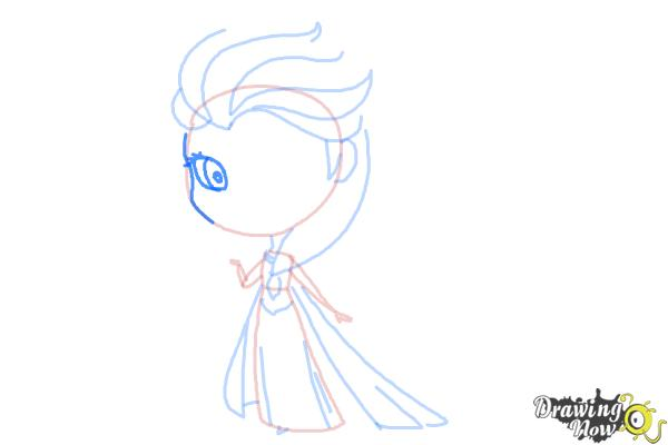 How to Draw a Chibi Elsa from Frozen - Step 8
