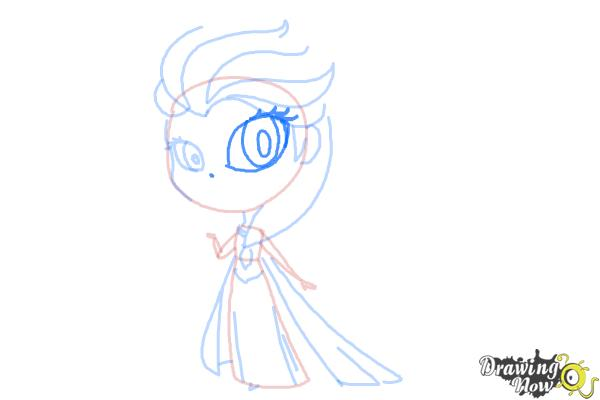 How to Draw a Chibi Elsa from Frozen - Step 9