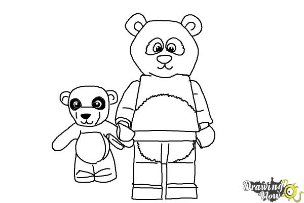 How to Draw The Panda Guy from The Lego Movie - Step 11