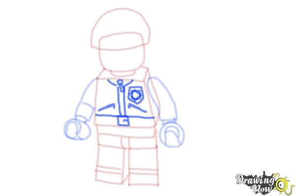 How to Draw Bad Cop from The Lego Movie - Step 10