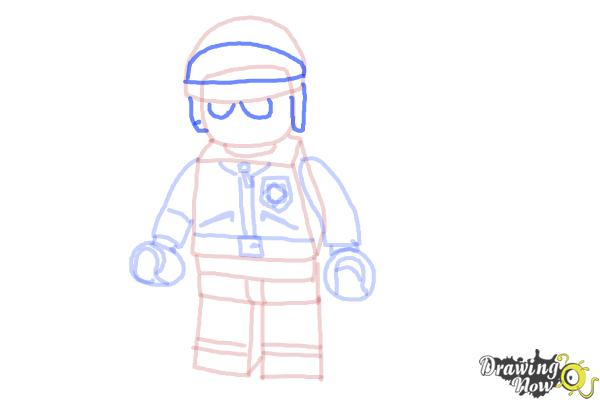 How to Draw Bad Cop from The Lego Movie - Step 11