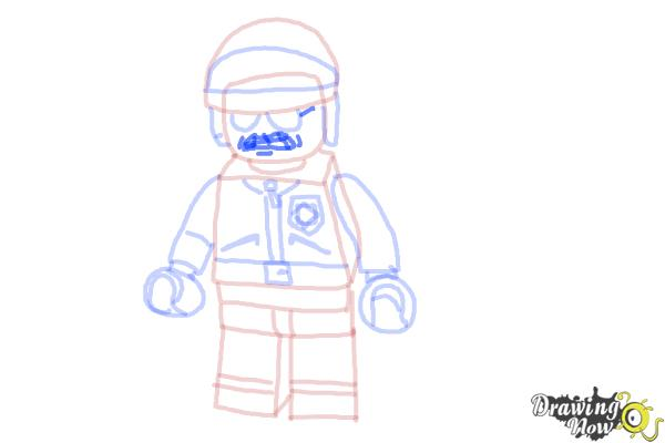 How to Draw Bad Cop from The Lego Movie - Step 12