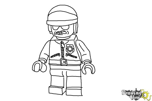 How to Draw Bad Cop from The Lego Movie - Step 13