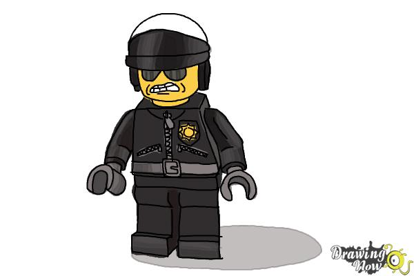 How to Draw Bad Cop from The Lego Movie - Step 14
