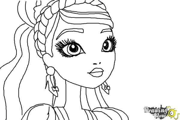 How to Draw Ashlynn Ella The Daughter Of Cinderella from Ever After High - Step 9