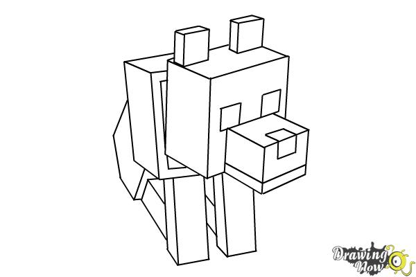 minecraft wolf coloring pages | How to Draw a Minecraft Wolf | DrawingNow