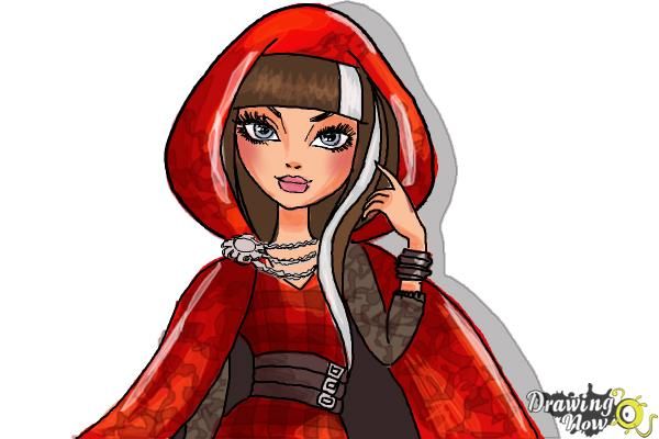 How to Draw Cerise Hood The Daughter Of Little Red Riding Hood from Ever After High - Step 10