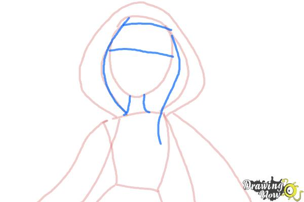 How to Draw Cerise Hood The Daughter Of Little Red Riding Hood from Ever After High - Step 4