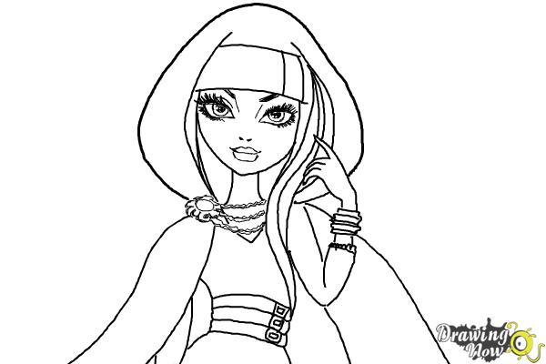 How to Draw Cerise Hood The Daughter Of Little Red Riding Hood from Ever After High - Step 9