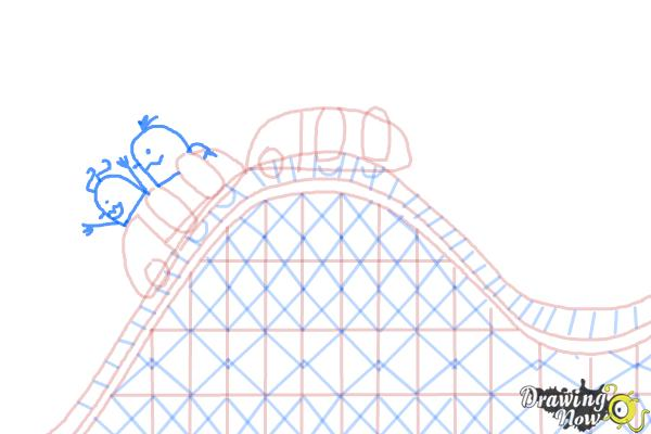 How to Draw a Roller Coaster For Kids - Step 10