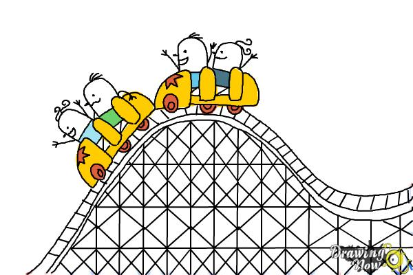 How to Draw a Roller Coaster For Kids - Step 12