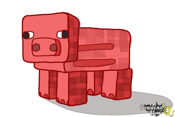 How to Draw a Minecraft Pig - Step 11