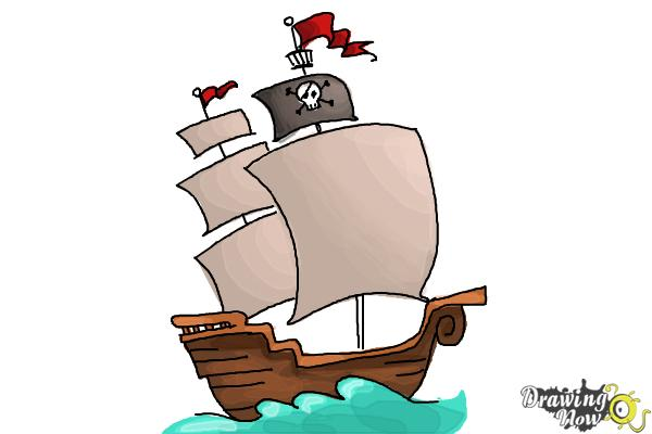 How to Draw a Pirate Ship For Kids - Step 10
