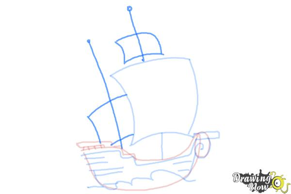 How to Draw a Pirate Ship For Kids - Step 6