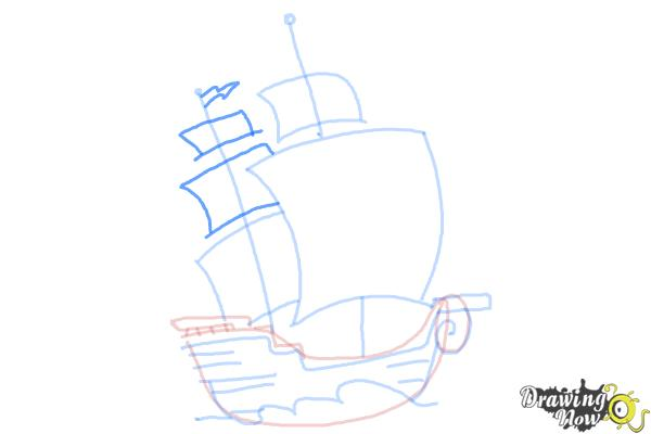How to Draw a Pirate Ship For Kids - Step 7