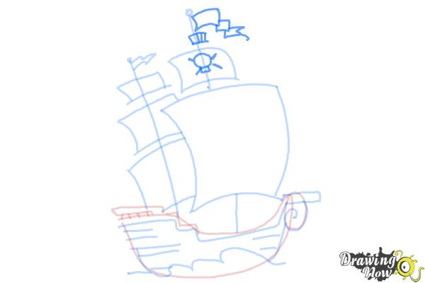 How to Draw a Pirate Ship For Kids - Step 8