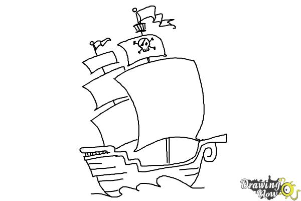 How to Draw a Pirate Ship For Kids - Step 9