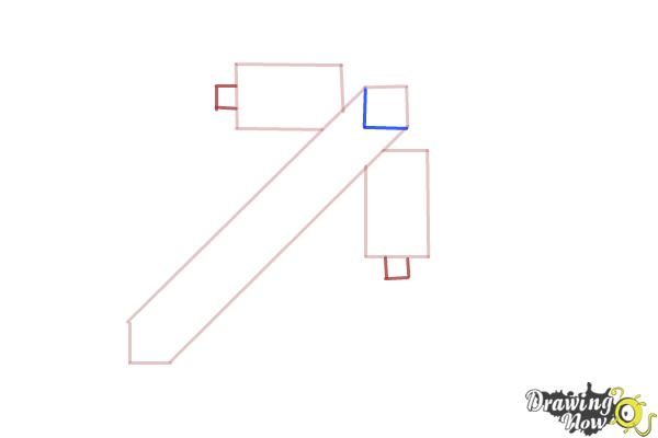 How to Draw a Minecraft Pickaxe - Step 3