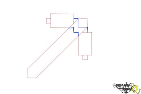 How to Draw a Minecraft Pickaxe - Step 4