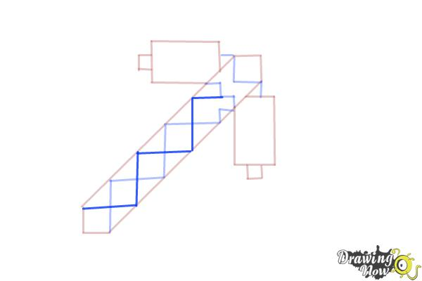 How to Draw a Minecraft Pickaxe - Step 6