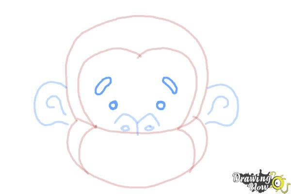How to Draw a Monkey Face - Step 6
