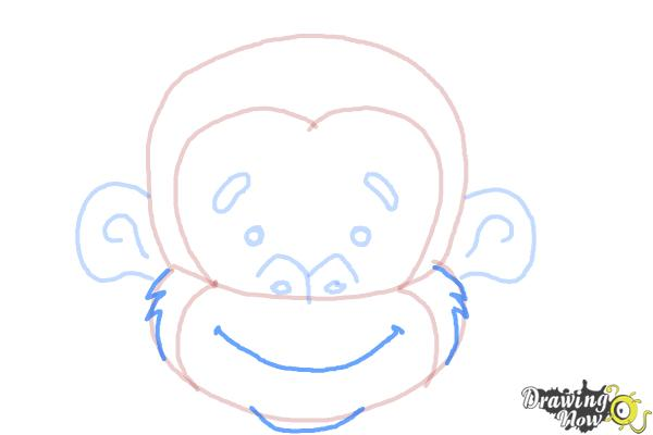 How to Draw a Monkey Face - Step 7