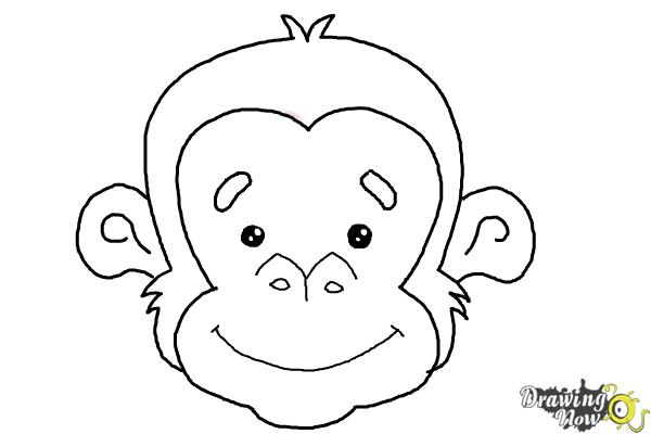 How to Draw a Monkey Face - Step 8