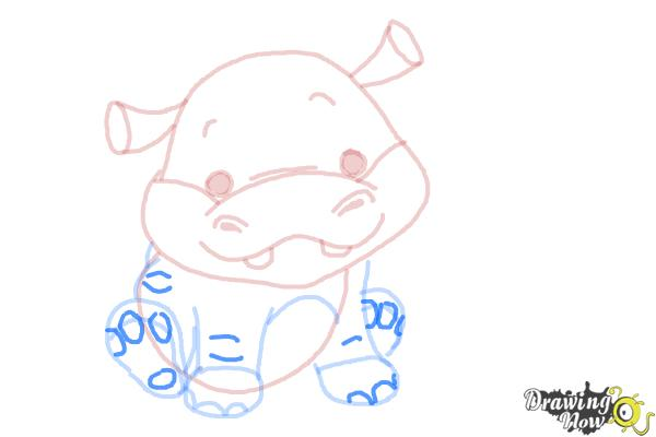 How to Draw a Hippo For Kids - Step 10