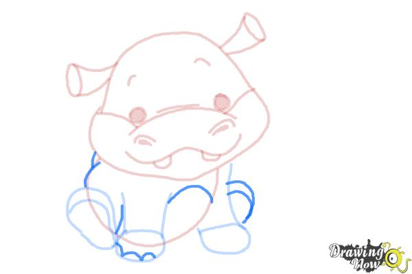 How to Draw a Hippo For Kids - Step 9